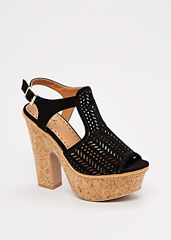 Black Cut-Out Chunky Heel By Qupid®