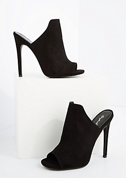Black Mock Suede Peep Toe Mule By Qupid