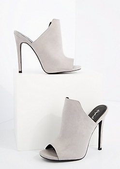 Gray Mock Suede Peep Toe Mule By Qupid