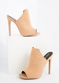 Light Pink Mock Suede Peep Toe Mule By Qupid