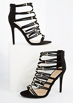 Black Caged Strappy Mock Suede Heels By Qupid
