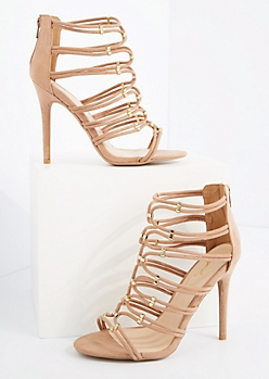Taupe Caged Strappy Mock Suede Heels By Qupid