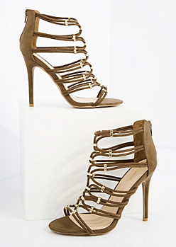 Khaki Caged Strappy Mock Suede Heels By Qupid