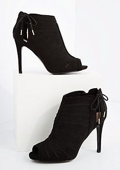 Black Strappy Peep Toe Heel By Qupid