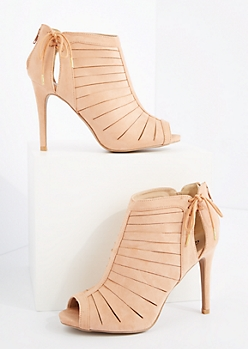 Light Pink Strappy Peep Toe Heel By Qupid