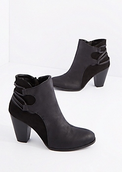 Black Stacked Heel Bootie By Qupid