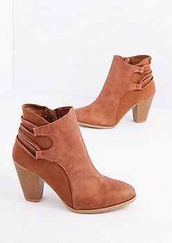 Camel Stacked Heel Bootie By Qupid