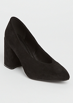 Black Faux Suede Chunky Pumps By Qupid