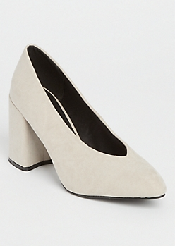 Oatmeal Faux Suede Chunky Pumps By Qupid