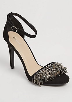 Black Beaded Fringed Stiletto By Qupid