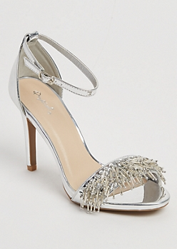 Silver Beaded Fringed Stiletto By Qupid