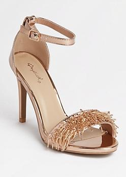 Rose Gold Beaded Fringe Stilettos
