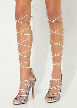 Multi-Colored Glitter Lace Up Stilettos