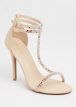 Nude Glitter T-Strap Stilettos