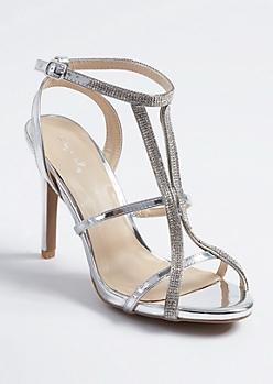 Silver Metallic Strappy Rhinestone Stilettos