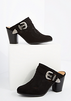 Black Perforated Heel Mule By Qupid