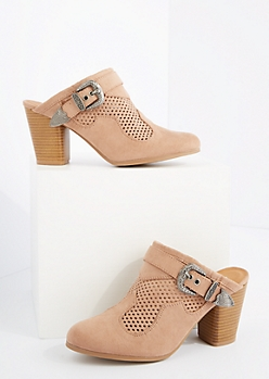 Taupe Perforated Heel Mule By Qupid