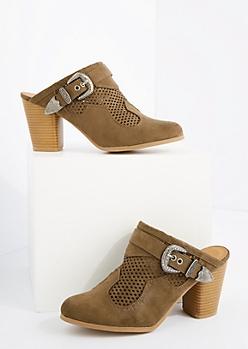 Khaki Perforated Heel Mule By Qupid