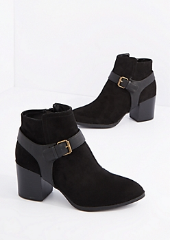 Black Buckled Mock Suede Shootie by Qupid