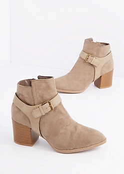 Taupe Buckled Mock Suede Shootie by Qupid