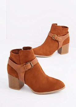 Brown Buckled Mock Suede Shootie by Qupid