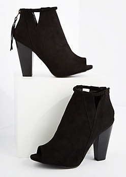 Black Cut Out Open Toe Heeled Shootie By Qupid