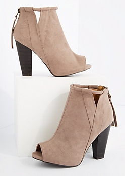 Taupe Cut Out Open Toe Heeled Shootie By Qupid