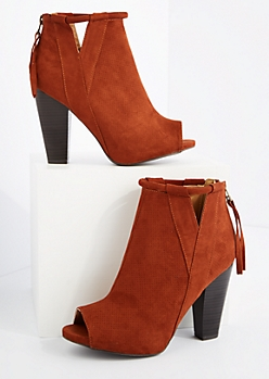 Cognac Cut Out Open Toe Heeled Shootie By Qupid