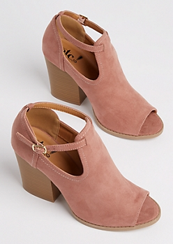 Dusty Pink Peep Toe Stacked Heel