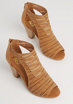Tan Tribal Cutout Stacked Heel