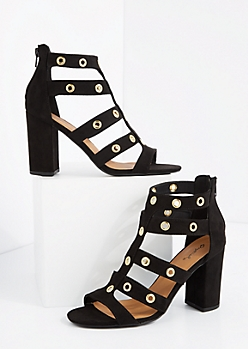 Black Grommet Caged Shootie by Qupid®