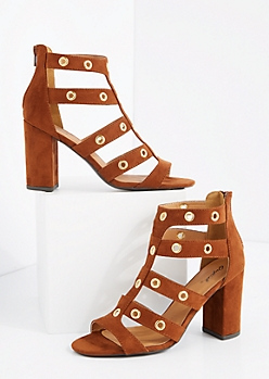 Brown Grommet Caged Shootie by Qupid®
