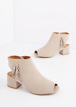 Taupe Tassel Trim Open Toe Shootie by Qupid®