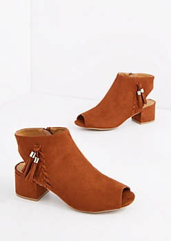 Brown Tassel Trim Open Toe Shootie by Qupid®