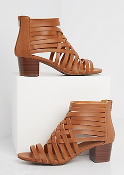 Cage Strapped Stacked Heel