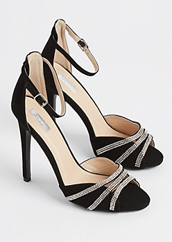 Black Rhinestone Strappy Stiletto By Qupid