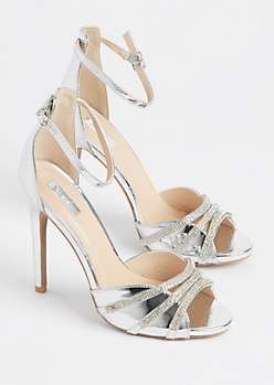 Silver Metallic Rhinestone Strappy Stiletto By Qupid