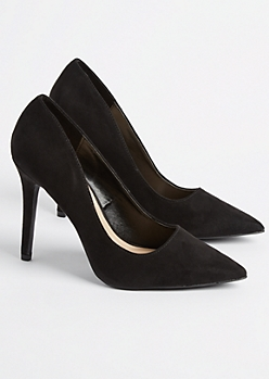 Black Faux Suede Stiletto Heel By Qupid