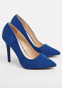 Blue Faux Suede Stiletto Heel By Qupid