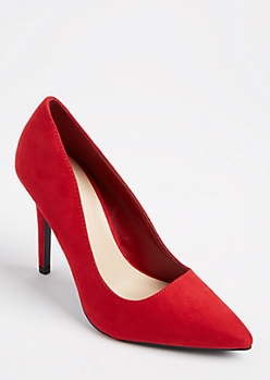 Red Faux Suede Stiletto Heel By Qupid