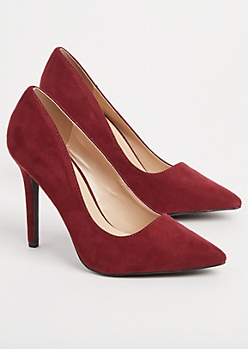 Burgundy Faux Suede Stiletto Heel By Qupid