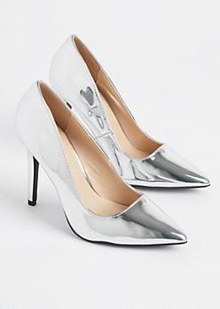 Silver Metallic Stiletto Heel By Qupid
