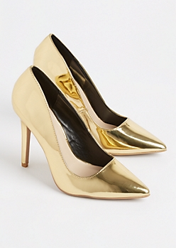 Gold Metallic Stiletto Heel By Qupid