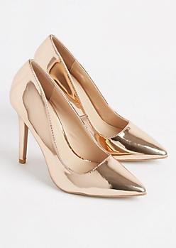 Rose Gold Metallic Stiletto Heel By Qupid