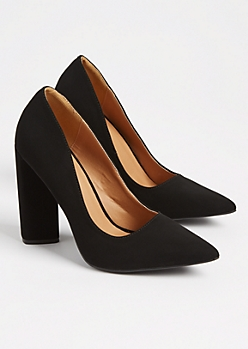 Black Faux Suede Block Heel By Qupid