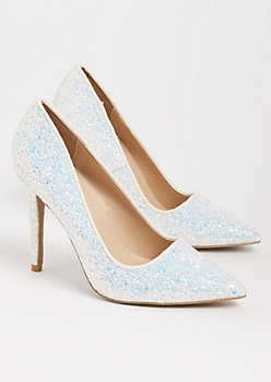 White Glitter Stiletto Heel By Qupid