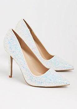 White Glitter Stiletto Heel By Qupid