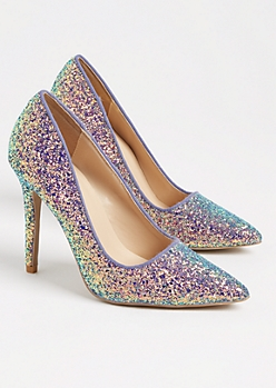 Blue Glitter Stiletto Heel By Qupid