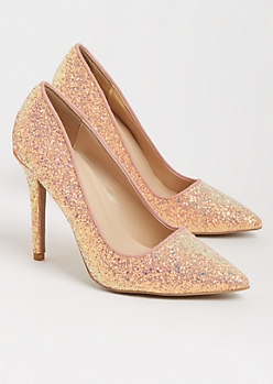 Pink Glitter Stiletto Heel By Qupid
