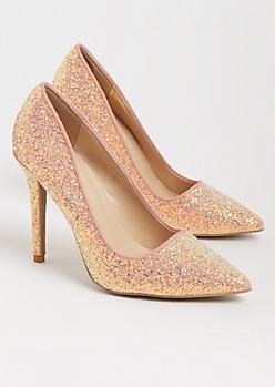 Pink Glitter Stiletto Heel By Qupid